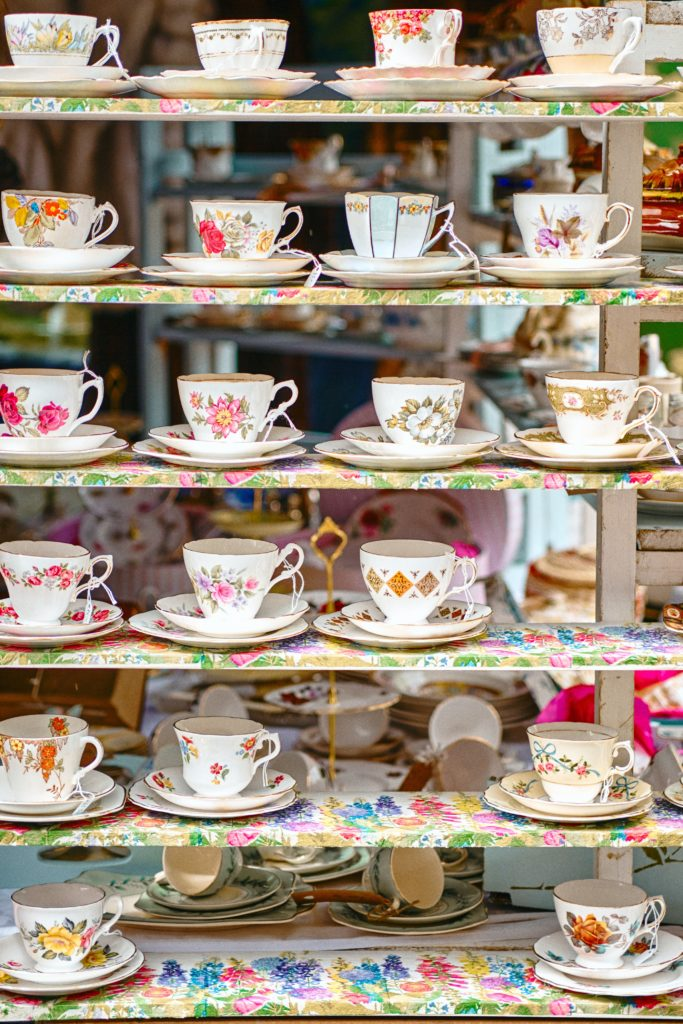 A collection of pretty teacups to represent the necessity for self care