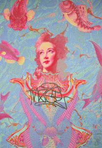 A whimsical painting of a woman's face, surrounding by koi fish, as if underwater and swimming with them
