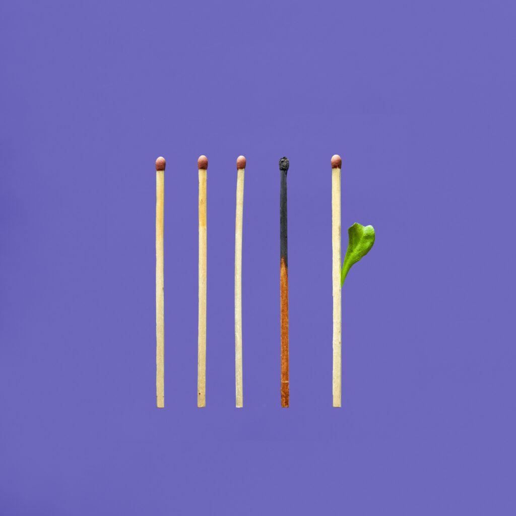 Five vertical matches, each of which represents varying levels of burnout