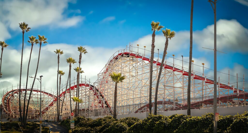 A roller coaster, representing the ups and downs of life that can be hard for a Highly Sensitive Person to manage