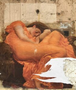 A painting of a woman in an orange dress who appears to be suffering from depression or anxiety and who could benefit from inspirational quotes